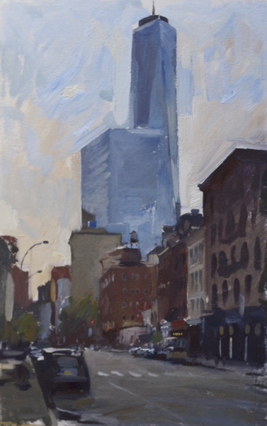 Plein air painting of the Freedom Tower from West Broadway.