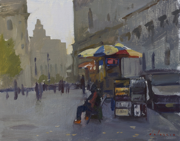 Plein air painting of a print seller near City Hall, NYC