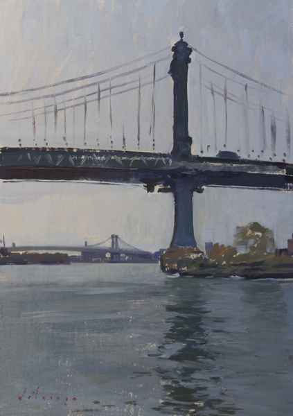 Plein air painting of the Manhattan Bridge.