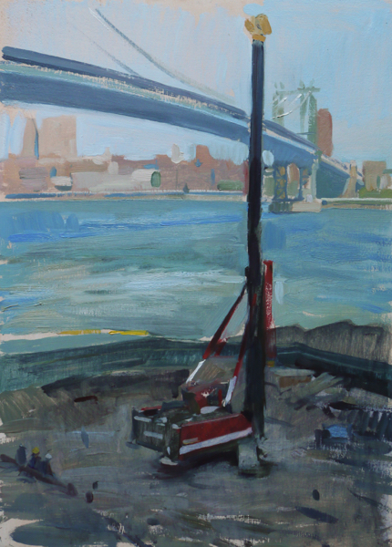 Plein air painting of a construction site in Dumbo, Brooklyn.