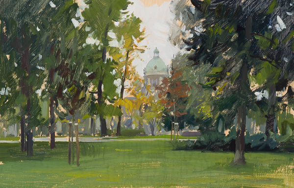 Plein air painting of the Assembly Cupola in Belgrade, Serbia.