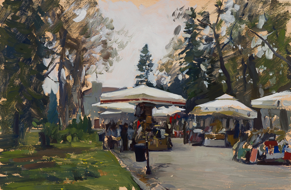 Plein air painting of souvenir stands in Belgrade.