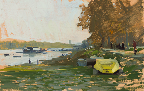 Plein air painting of Sunday in Zemun.