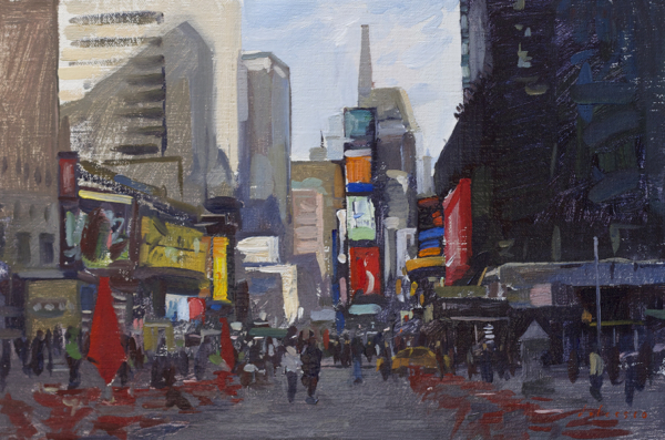 Plein air painting of Times Square, NYC