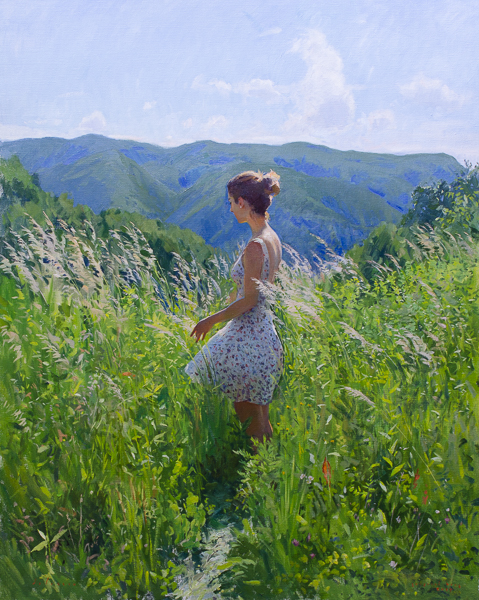 Plein air figurative painting from Gregurić Breg