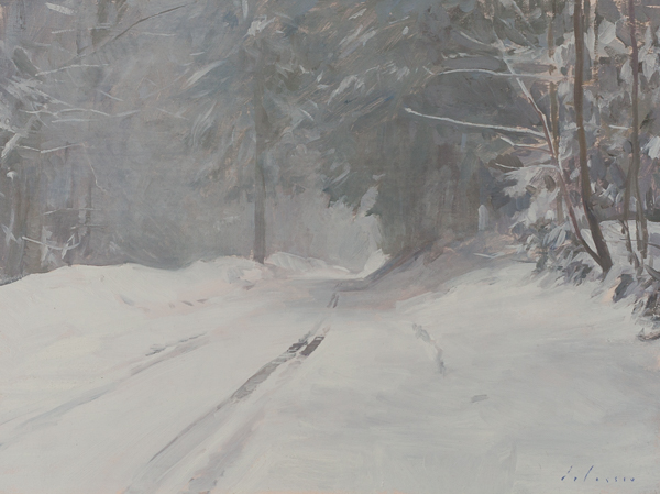 Plein air painting of a road in the snow near Les Plans, Switzerland.