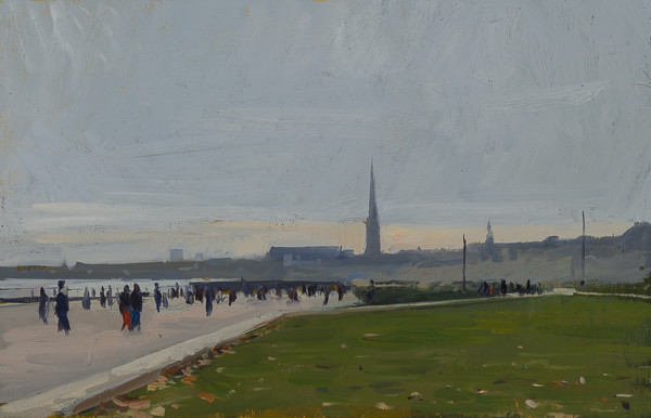 Plein air painting of evening in Bordeaux, France.