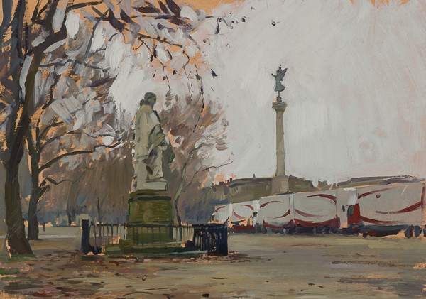 Plein air painting of a park in Bordeaux, France.