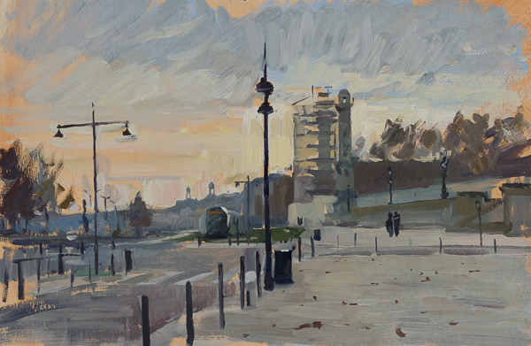 Plein air painting of Bordeaux.