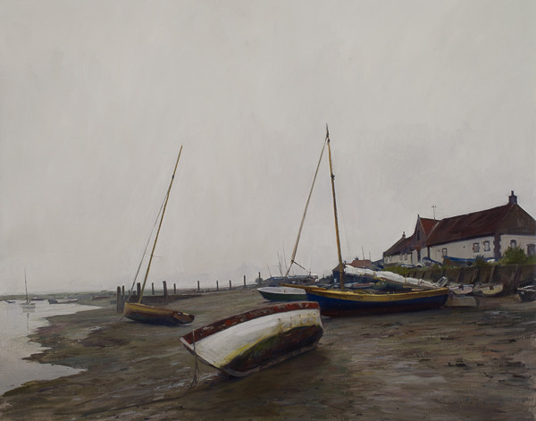 Landscape painting of Boats at Low Tide, Burnham Overy Staithe.