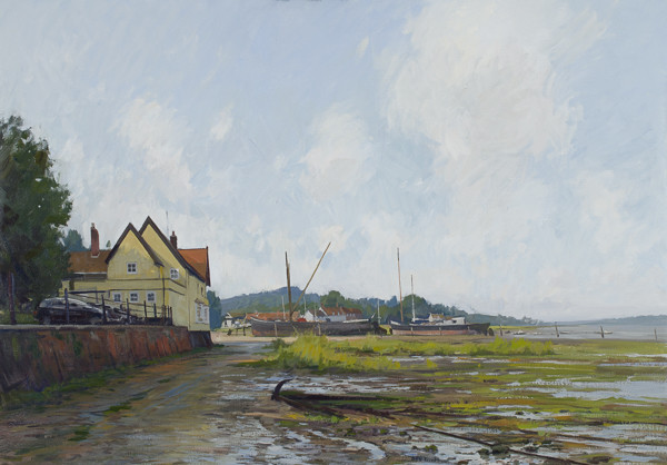 Painting of Pin Mill at low tide.