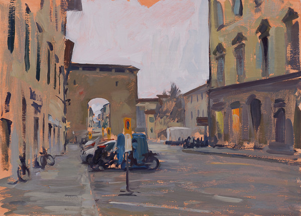 Oil painting of the Porta San Frediano in Florence, Italy.