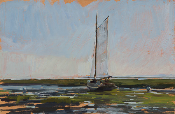 Plein air painting of a sailboat at Cap Ferret, France.