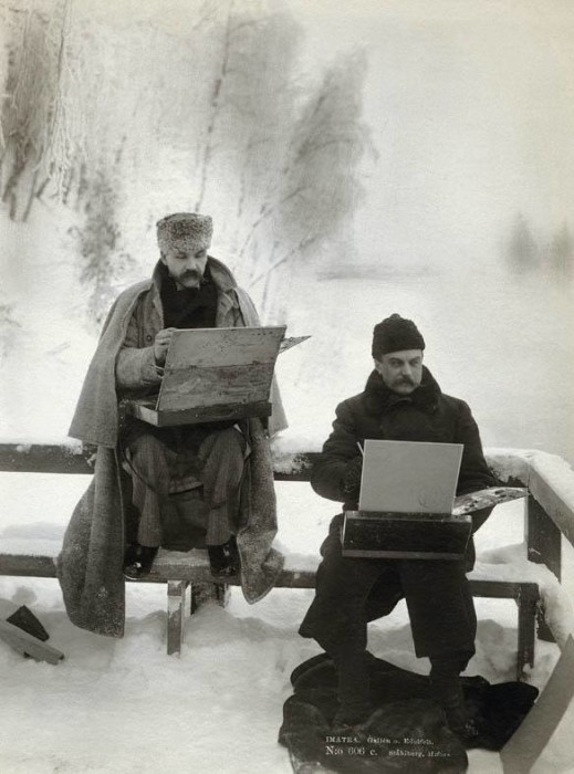 Photograph of Finnish Painters Akseli Gallen-Kallela and Albert Edelfelt Painting in the Snow