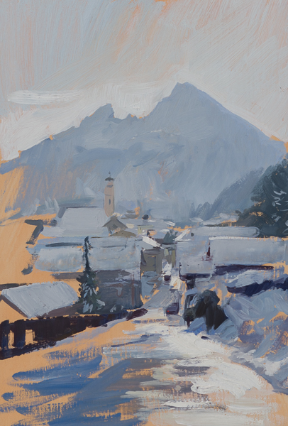 Plein air painting of Berchtesgaden, Germany.