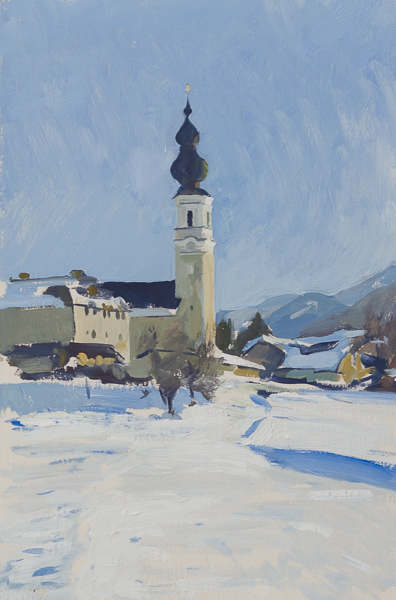Plein air painting of Faistenau, Austria.