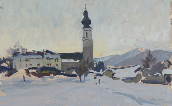 Plein air painting of Faistenau, Austria in the evening.