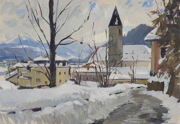 Oil painting of Hallein, Austria in the snow.