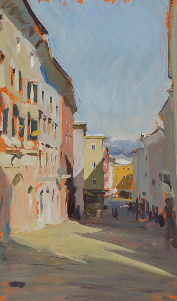 Plein air landscape of Hallein in the sun.