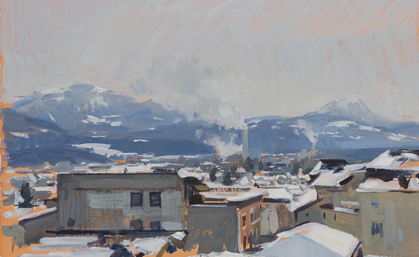 Plein air landscape of factories in February.