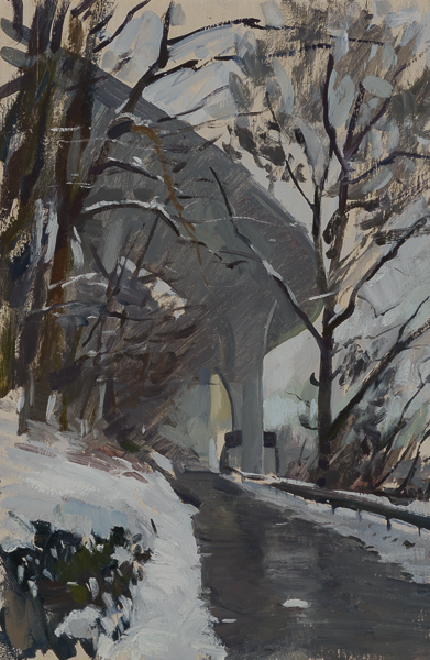 Plein air landscape of an overpass in the snow.