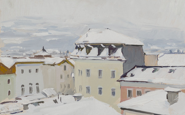Plein air landscape of roofs in the snow in Hallein, Austria.