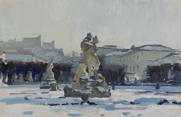 Painting of the Mirabell Garden statues in the snow, Salzburg, Austria.