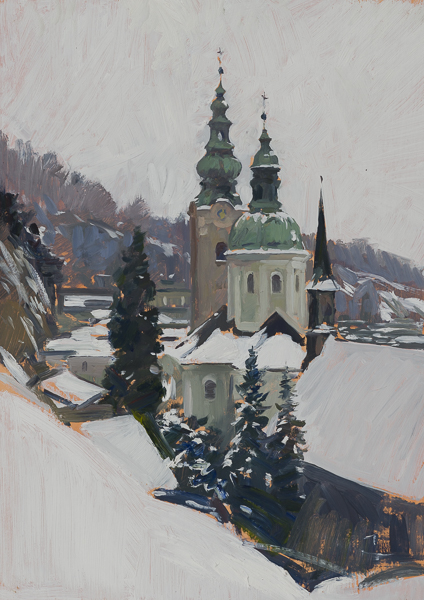 Plein air painting of church towers in Salzburg, Austria.