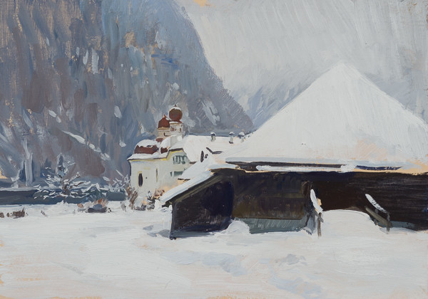 Oil painting of St. Bartholomä am Königssee.