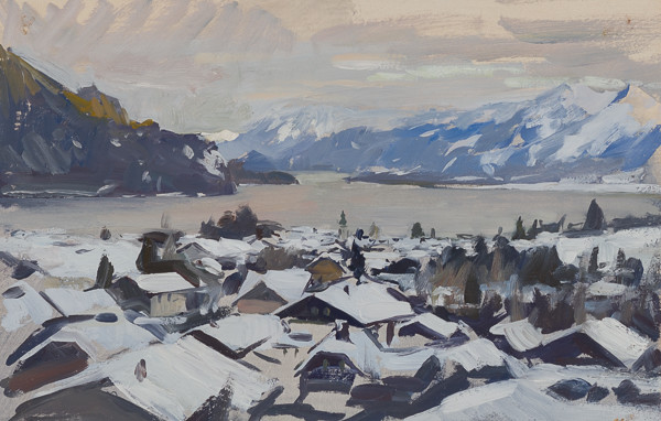 Plein air painting of St. Gilgen, Austria.