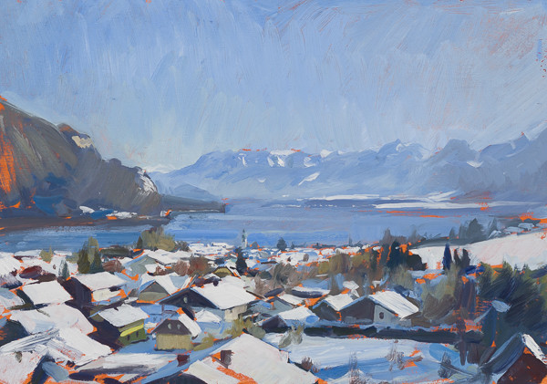 Plein air painting of St. Gilgen, Austria in winter.