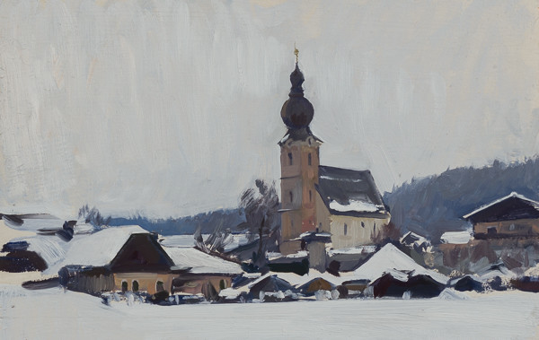 Plein air painting of St. Leonhard in the winter.