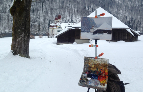 Photo of my plein air at painting set up at St. Bartholomew's Church, near Berchtesgaden.