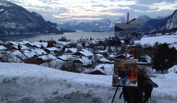Photograph of my plein air set up above St. Gilgen, Austria