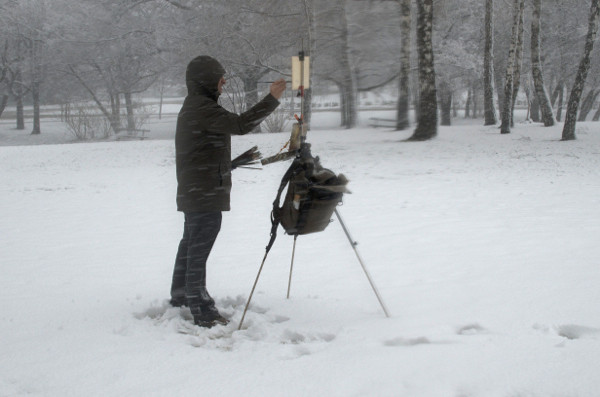 Plein air painting in heavy snow.