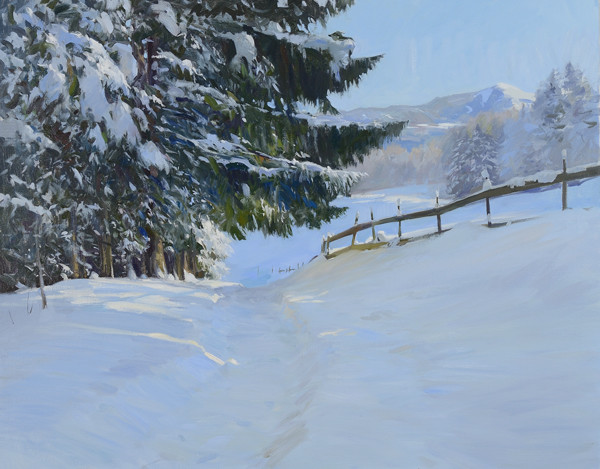 Oil painting of a path in the snow above Bad Dürrnberg, Austria.