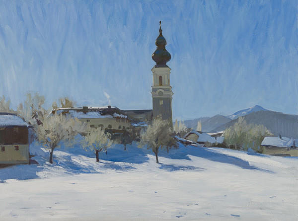 Oil painting of the Church at Faistenau, Austria in the winter.