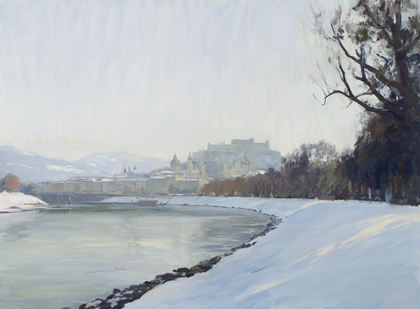 Landscape painting of Salzburg in the winter.