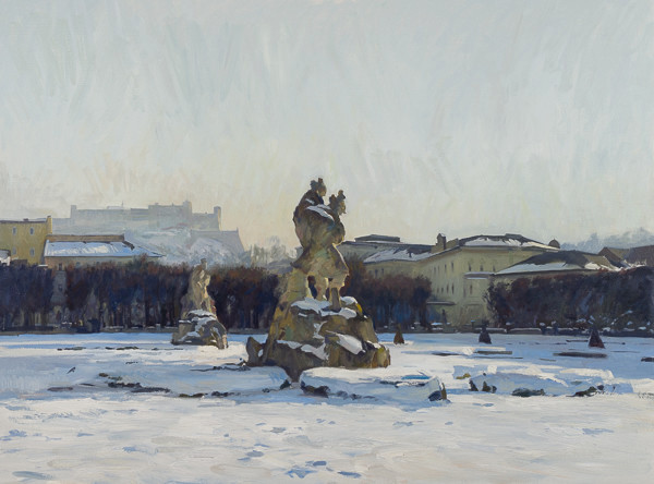 Oil painting of the statues in the Mirabell Garden in Salzburg, Austria.