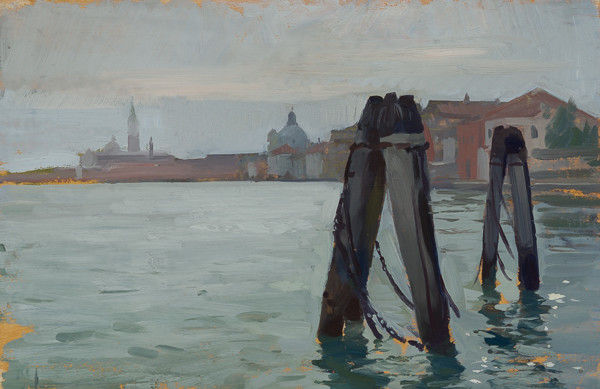 Plein air painting of the view from the Giudecca in the morning.