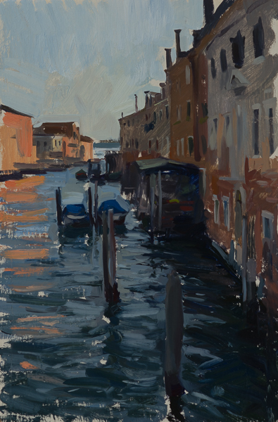 Plein air painting of the Rio del Ponte Lungo in Venice, Italy by Marc Dalessio.