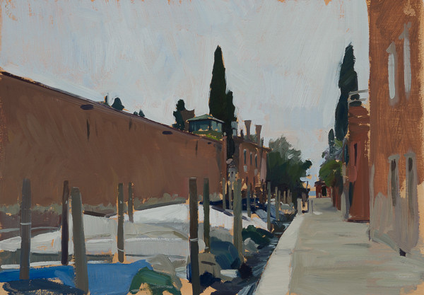 Plein air landscape painting of the Rio della Croce canal on the Giudecca in Venice, Italy.