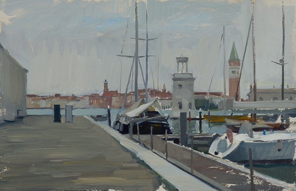Painting of a sailboat moored in the harbor on San Giorgio, Venice, Italy.