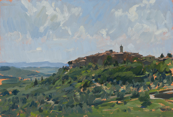 Plein air painting of Castelmuzio, Tuscany, Italy.