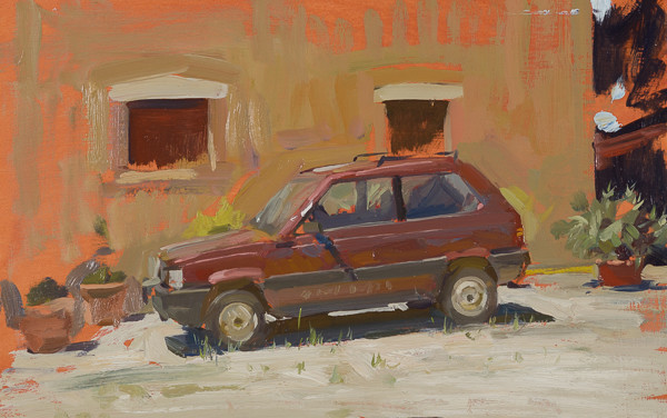 Plein air painting of a Fiat Panda.