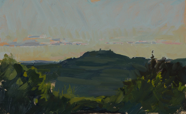 Plein air painting of a Tuscan sunset.