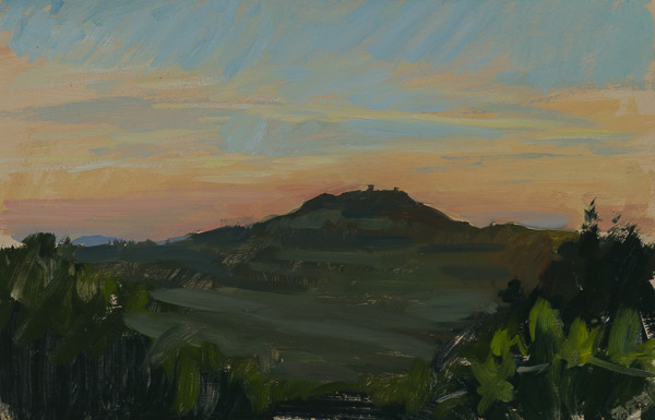 Plein air landscape of a sunset in Tuscany.