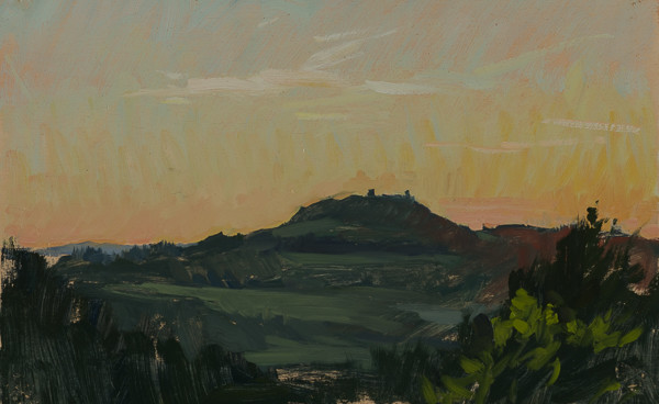 Plein air painting of a sunset near Tavarnelle val di Pesa.