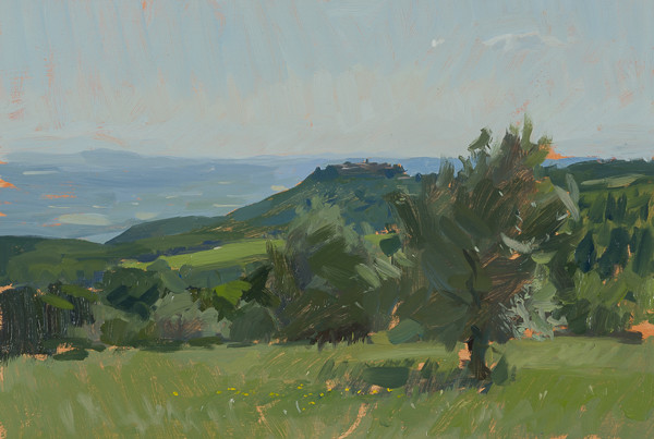 Plein air painting of Sant'Angelo in Colle.