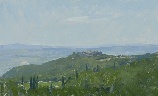 Plein air landscape painting of Sant'Angelo in Colle, near Montalcino, Tuscany.